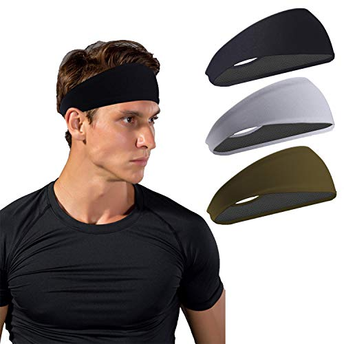 Crossfit GZXISI 3 Pack Men Headbands Guys Workout Sweatbands Sport Headbands Stretchy Moisture Wicking Unisex Hairbands Helmet Liner /& More Versatile Headband for Running