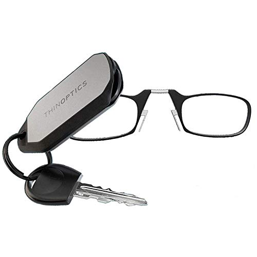 ThinOptics Reading Glasses + Keychain Case | Black Frame, 2.00 Strength Readers
