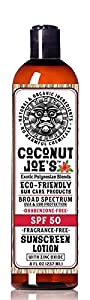 Zinc Oxide Sunscreen from Coconut Joe's | Natural & Organic Sunscreen Lotion, Mineral Sunscreen, SPF 50, Fragrance Free Sunscreen, 8 ounce bottle