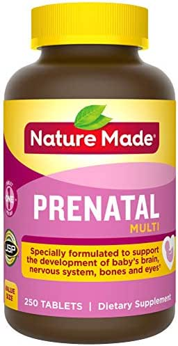 Nature Made Prenatal Vitamin with Folic Acid, Iron, Iodine & Zinc, 250 Tablets (Packaging May Vary)