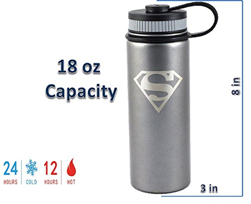 Se7en20 Superman 18oz Insulated Water Bottle, Stainless Steel, Wide Mouth Double Walled Vacuum Insulated Bottle for Hot and Cold Beverages