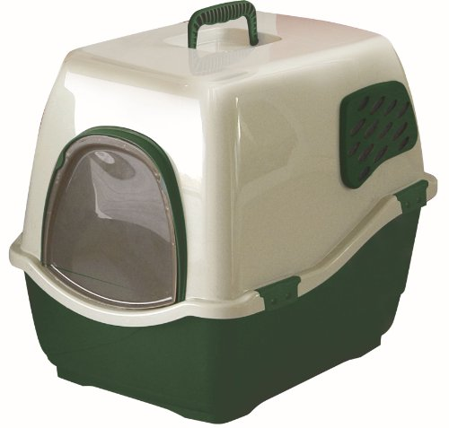 Marchioro Bill 2F Covered Cat Litter Pan with Filter, Medium/Large, Tan/Green