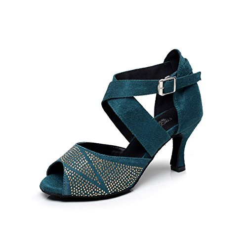 Baysa Moda Donna Strass Latino Sala Da Ballo Salsa Tango Dance Shoe Navy