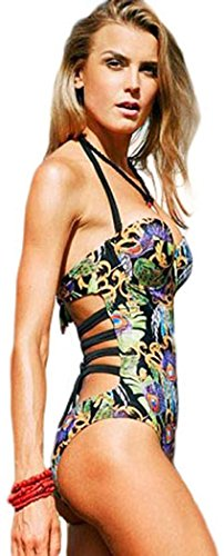 IF FEEL Womens Sexy Underwire Halter Padded Push Up Bandage One Piece Bikini Hollow Out Monokini Swimsuits - Size M