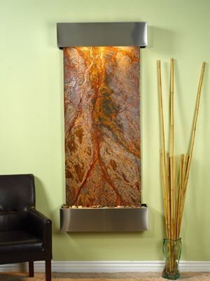 (Adagio Inspiration Falls Wall Fountain Rainforest Brown Marble Stainless Steel - IFS2006)