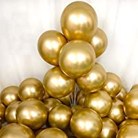 12Inch Chrome Metallic Gold Balloons for Party 50 Pcs Thick Latex Balloons for Party Decorations (Gold)