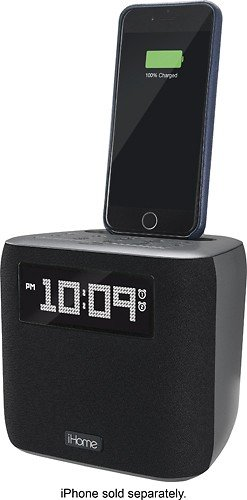 iHome iPL24 Dual Alarm FM Clock Radio with Lightning Connector for iPhone 5/5S/SE 6/6Plus 6S/6SPlus 7/7Plus w/ USB Out Charging (Gray)