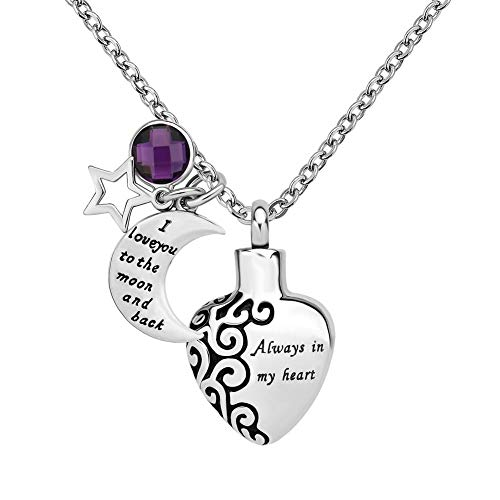 EV.YI Jewels Love Heart with Angel Wing Always in My Heart Urn Necklace for Ashes February Purple Crystal Cremation Memorial Gift for Mom Dad Women Men