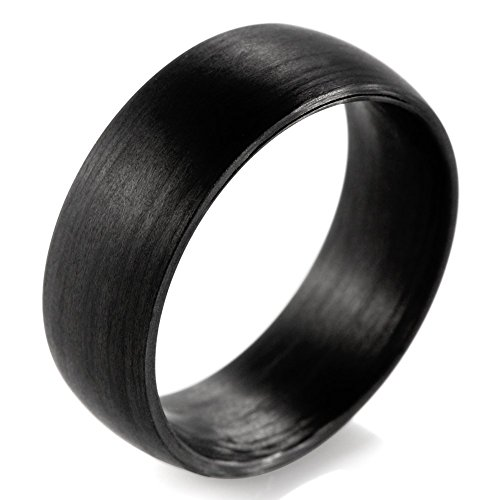SHARDON Men's 8mm Domed Pure Carbon Fiber Wedding Ring Size 10