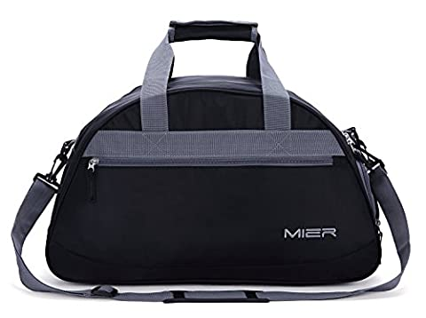 MIER 20inch Sports Gym Bag Travel Duffel Bag with Shoes Compartment for Women and Men(Black) - Sporty Travel Tote