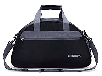 MIER 20inch Sports Gym Bag Travel Duffel Bag with Shoes Compartment for Women and Men(Black)