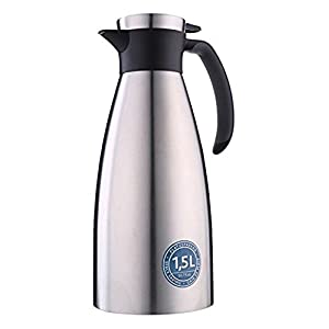 Emsa 18/10 Stainless Steel Soft Grip Carafe, 51-Ounce, Black