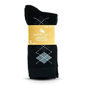 Mens Dress Socks 5 Pack Cotton Argyle Dress Socks Assorted Colors -5 Pair (10-13, Argyle)