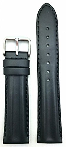 20mm Oily Black Leather, Twin Padded Stylish Watch Band