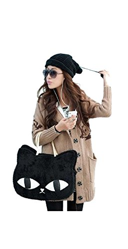 Kiistyle Handbag Cat Pattern Floss Winter Bags Shoulder Bags Tote_Black