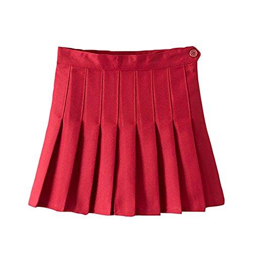 Xinvision Pour Femmes Filles Uniformes Mini-jupe Plissée Solides Jupes De Tennis Mince Mini Robe Avec Cuissard Rouge