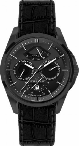 Pierre Petit Men's P-822C Le Mans Black IP Stainless Steel Day Date Power Reserve Luminous Black Anti Allergic Genuine Leather Watch