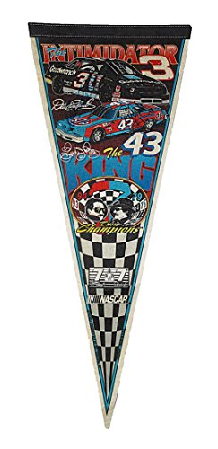 2X AUTOGRAPHED Dale Earnhardt Sr. & Richard Petty 1995 Seven Time Champions THE INTIMIDATOR & THE KING (7X Champs) Vintage & Original NASCAR Racing Collectible Pennant Banner with COA