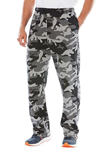 KingSize Men's Big & Tall Fleece Open-Bottom Pants, Black Camo (Big Tall Sweatpants)