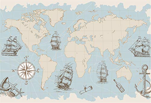 LFEEY 5x3ft World Map Backdrop Nautical Theme Background Mainland Ocean Ancient Ships Compass Boat Anchor for Photographic Video Studio TV Film Production Marine Fans Pictures Photo Booth Prop -