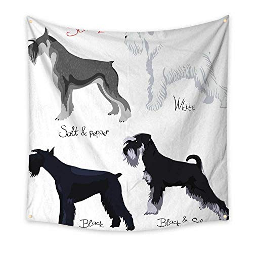Anyangeight Gorgeous Tapestry Vector Set of Purebred Dogs Schnauzer 55W x 55L Inch
