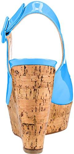 Trusify Mujer 10cm EU tamaño 34-46 Truabsent Tacón ancho 10CM Sintético Sandalias de vestir Azul Sky