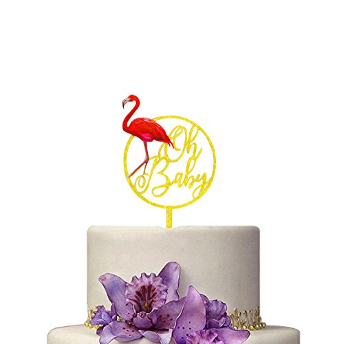 Hawaii Flamingo Oh Baby Cake Toppers and Wrappers Hawaii Luau Party Supplies by Huuflyty