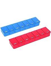 COM-FOUR® 2X medicatiedispenser in het NEDERLANDS - medicatiebox voor 7 dagen - elk 1 vakje - pillendoosje - pillendoosje - tabletdoos - weekdispenser voor bewaring [NEDERLANDS]