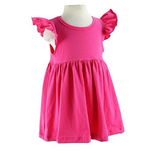 Wennikids Baby Girls' Cotton Flutter Sleeve Dress Small Hot - From Usps Canada To Us Shipping