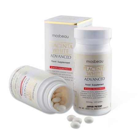 Mosbeau Placenta White Advanced Supplement for Skin Whitening 2015 Japan Patented Twice As Effective As Glutathione (120 Tablets)