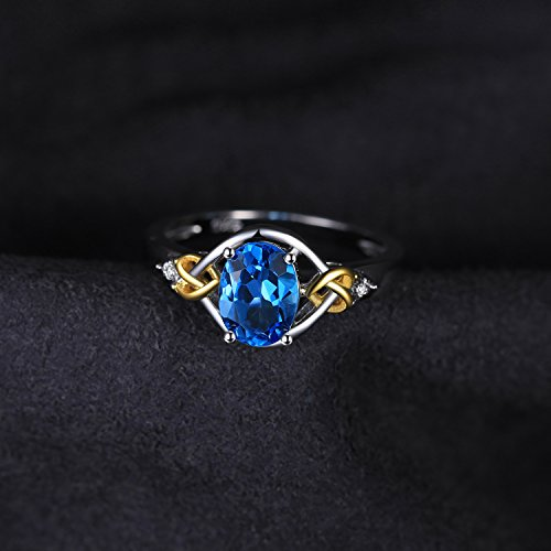 JewelryPalace Love Knot 1.5ct Natural Swiss Blue Topaz Diamond Accented Promise Ring 925 Sterling Silver 18K Yellow Gold Size 7 by JewelryPalace (Image #4)