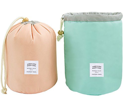 2 Pack Travel Makeup Bags Waterproof Cosmetic Bags Multifunctional Bucket Toiletry Bag Make up Organizer Barrel Cases Kit Storage pocket Soft Collapsible Portable Cosmetic Cases