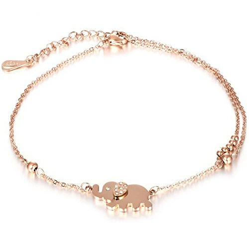 fashion jewelry hypoallergenic_cubic zirconia rhinestone rose gold ankle bracelet_ lucky elephant charm chain link anklets_rose gold ankle bracelet_charm chain anklets_ankle jewelry Mother's Day Gifts