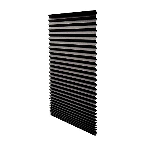 Quick Fix Blackout Pleated Paper Shade Black, 36