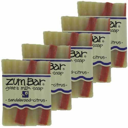 (Indigo Wild Zum Bar Goat's Milk Soap - Sandalwood Citrus 5 Pack)