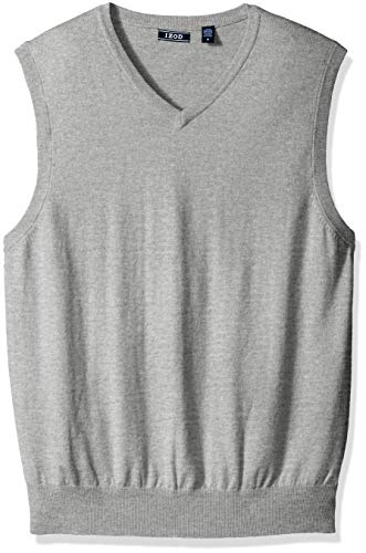 (IZOD Men's Premium Essentials Solid V-Neck 12 Gauge Sweater Vest, New Light Grey, Small)