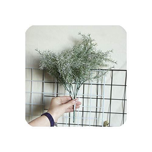 (Artificial Plant Beisi Grass Pine Needle Grass Eucalyptus Fake Flower Green Wall Home Decor Wedding Chriatmas Latex Plant Leaf,Green)