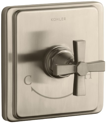KOHLER K-T13173-3A-BV Pinstripe Pure Thermostatic Valve Trim, Cross Handle, Valve Not Included, Vibrant Brushed - Tub Bv Pinstripe