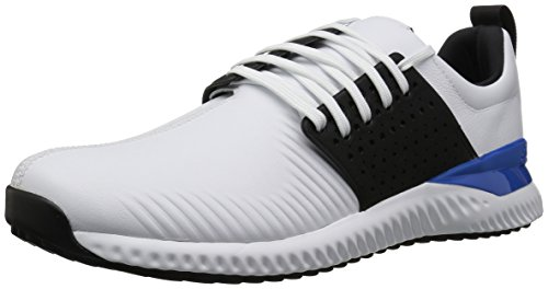 adidas Men's Adicross Bounce Golf Shoe, White/Black/Blue, 11 M US