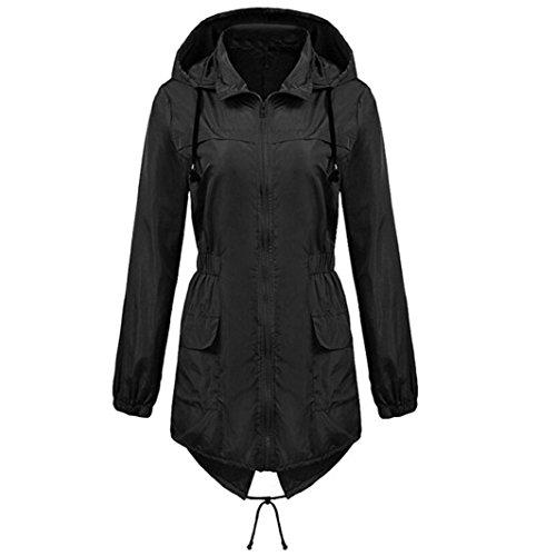 Women Waterproof Hooded Coat,Todaies Women Wind Resistance Lightweight Rain Jacket Anorak Detachable Hooded Coat (L, Black)