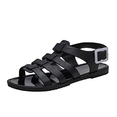 Sunfei Women Summer Beach Holiday Crystal Shoes Plastic Shoes Jelly Sandals (39, Black) by Sunfei