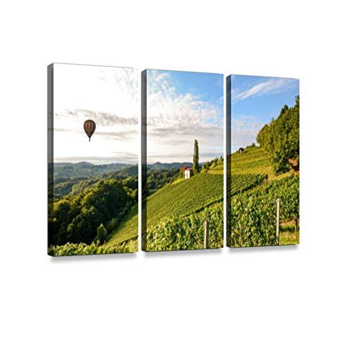 Vineyards with hot air Balloon Near Winery Before Harvest in The Tuscany Wine Growing Area Print On Canvas Wall Artwork Modern Photography Home Decor Unique Pattern Stretched and Framed 3 Piece