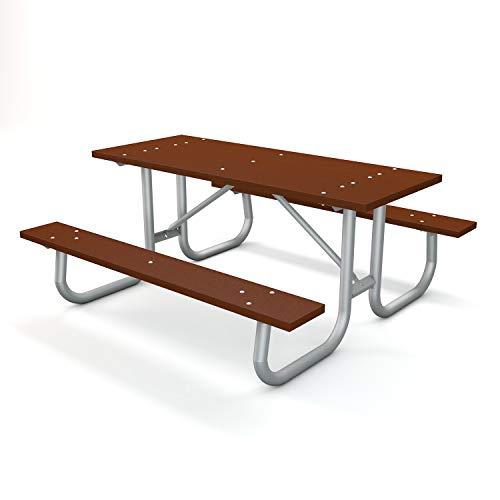 Frog Furnishings Galvanized Frame Picnic Table, 6', Brown