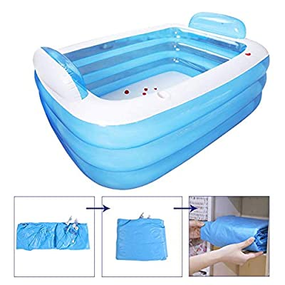 N/X Blue Inflatable Pool,Rectangular Family Swimming Pool for Baby, Kiddie, Kids, Adult, Infant, Toddler, Above Ground, Backyard, Outdoor,15010555cm/18014060cm, for Ages 3+: Home & Kitchen
