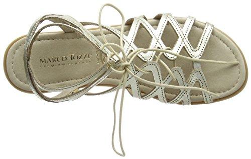 Marco Tozzi Premio 28146 Damen Römersandalen Sandalen mit Blockabsatz Silber (PLATINUM 957)