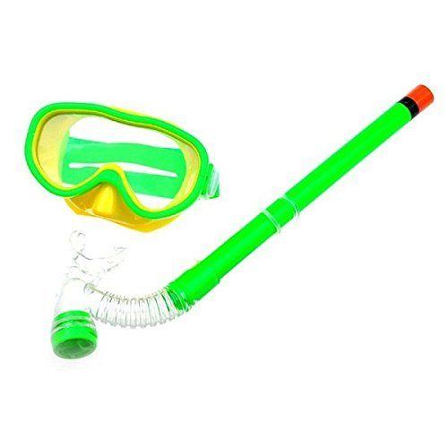Swimming Goggles Snorkel Mask with Anti-fog Silicone Set (Green) - 1