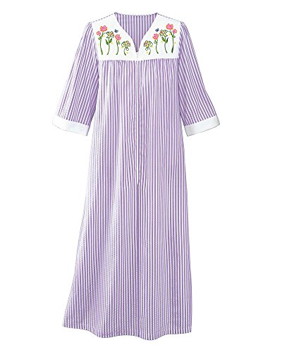 Long Muumuu - National Zip Plissé Lounger, Lavender, 1X - Womens Long