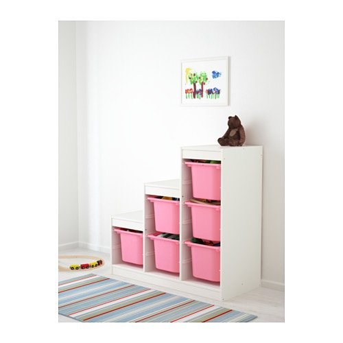 IKEA - TROFAST Storage combination (A2) with boxes, white, pink