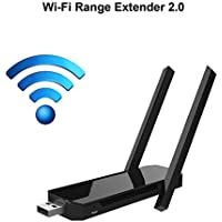 Wireless USB WiFi Extender with Dual Antenna Internet Signal Booster – Wireless Repeater 2.4Ghz Band Up to 300 Mbps, Universal Wi-Fi Range Amplifier – Easy to Use