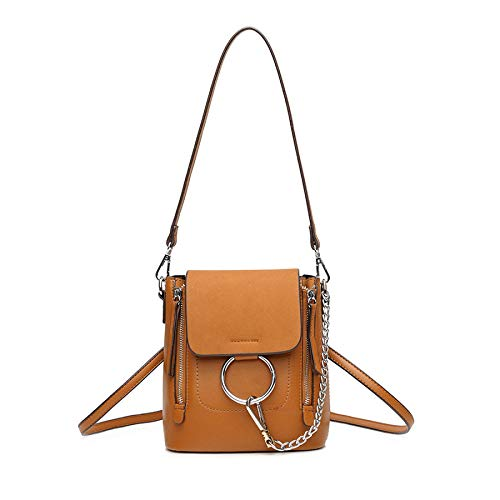 Shoulder Mini Woman handbag Chain Backpack functional Bag Brown Shoulder Multi Frosted Casual waxBr0RaXq